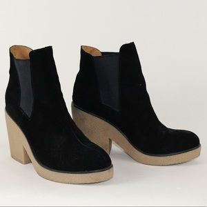 Black suede leather booties from Anthropologie